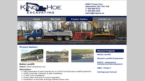 Business Brochure Site for Local Excavation Company